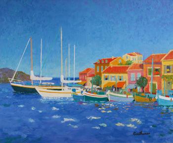 「ブルーの輝き」・・・赤い屋根が可愛らしい港町ののどかな風景と街並み。心にしみこんでいくようなブルーの海と白いボート、赤い屋根のコントラストがとっても素敵ですね!そこに暮らす人々の営みも一緒に描写されています。