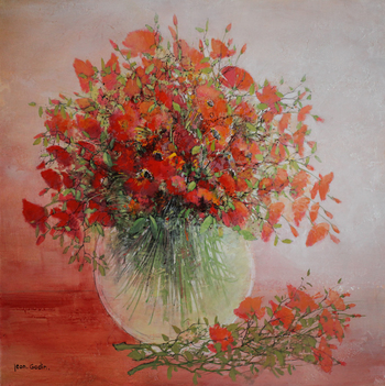 「優しさ」・・・丸い透明の花瓶と赤いコクリコの盛花が、ふんわりとした優しさに溢れています。