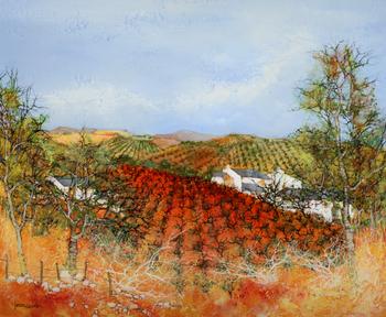 「ライヨンの丘」・・・赤色に染まった葡萄畑が強いインパクトです。