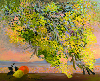 「モナコのミモザ」・・・ミモザの下にそっと置かれたオレンジとレモンが、まるで寄り添う小鳥のようで可愛らしいですね。