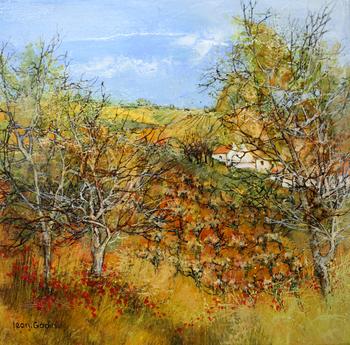 「木陰のぶどう園」・・・ぶどう園に点在するコクリコの赤が、作品に彩りを与えます。