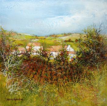 「ぶどう園」・・・葡萄畑を正面から見た光景と背景の家々は、ゴダンがよく描く構図です。