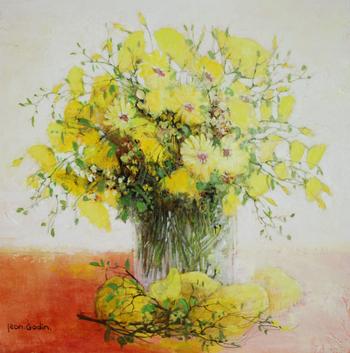 「黄色いブーケ」・・・爽やかなフレッシュレモンイエローから元気をもらいましょう。花の香りとレモンの香りが伝わってきます。