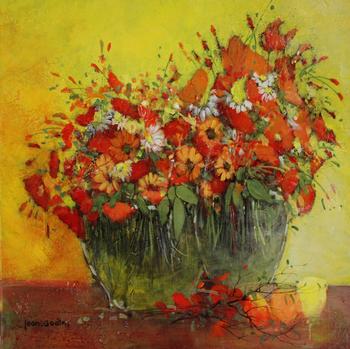 「野の花」・・・花瓶に活けられた2つのコクリコは、野の花と共に、競い合うように咲きこぼれています。