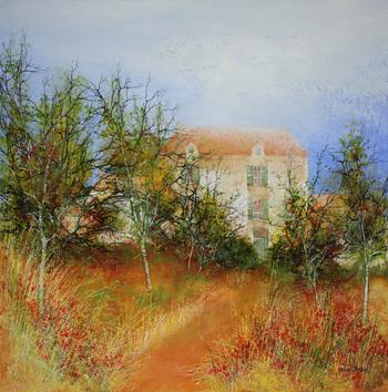 「ヴィラ」・・・葡萄畑に続く小径や森の中に、赤いコクリコが咲き乱れます。静寂を感じる風景の中に、コクリコの赤い色をスパイスに用いて、魅力ある絵画に仕上げています。