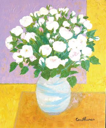 「バラ」・・・そっと優しく囁くように、心を和ませてくれる優しい白いバラ。その清らかさが新たな希望を与えてくれます。