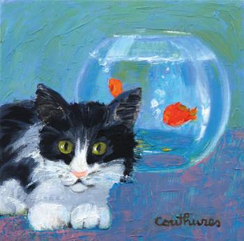 「猫と金魚」・・・猫と金魚鉢、この取り合わせが、なんだかユーモラスでかわいい題材です。