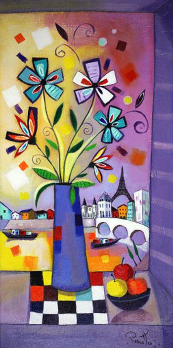「ベニスの眺望」・・・ゴンドラを背景に鮮やかな花で彩られた窓辺。