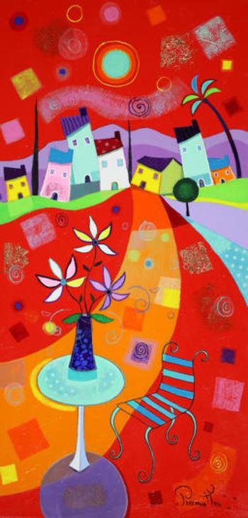 「春のブーケ」・・・小さなテーブルの上の可愛い主役は青い花瓶に生けたブーケ。ブーケが歌いだすと、椅子も建ち並ぶ家たちも歌い出し大合唱が聞こえてきそうです!