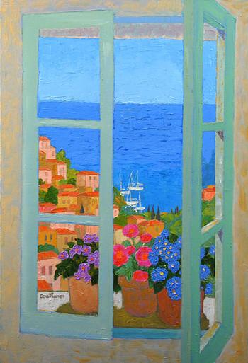「窓の外の地中海」・・・明るく澄み切った空と青い海。降り注ぐ太陽と風を感じる窓辺です。木漏れ日を浴びる幸せな時間が流れます。