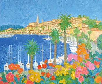 「花咲くマントン」・・・マントンはイタリアとの国境にある静かな美しい街。手前にはパームツリーと咲きこぼれる花々、そして停泊した白いボート。海岸の向こうには灯台が見えるとてもロマンチックな風景です。