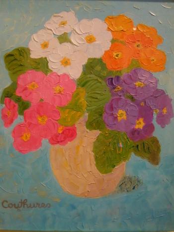 「青を基調のサクラ草」・・・白・ピンク・紫・オレンジの4色のサクラソ草。愛らしくぷっくりと厚みのある葉と花びらがキュートですね!