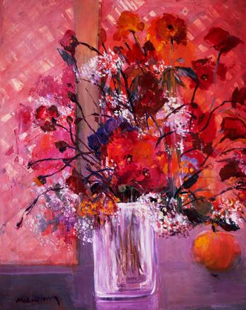 「ルビー色のブーケ」・・・花もテーブルもリンゴも、空気までがすべてがルビー色に包まれます。