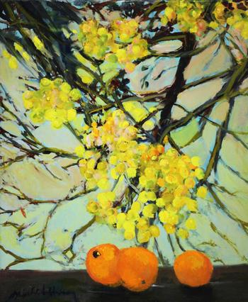 「オレンジとミモザ」・・・ミモザの花を見上げる恋するオレンジ。