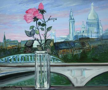「イエナ橋とサクレクール」・・・白いサクレクールのやわらかな輪郭と全景のピンクのバラが少しばかり寂しそう。