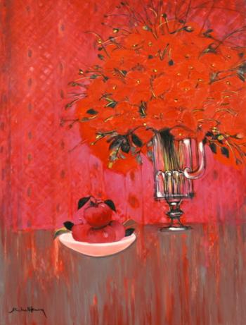 「赤いシンフォニー」・・・リンゴとコクリコ、2つの異なる赤いマチエールが奏でるシンフォニー。