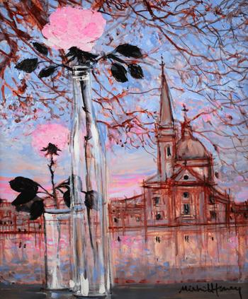 「ベニスのセントジョルジュ」・・・セントジョルジュも空の色までも、ピンクのバラに染まってロマンチックです。