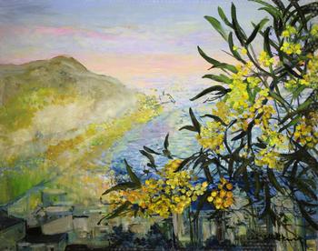 「リビエラの春」・・・しだれるミモザの枝とリビエラの春風を感じる風景です。