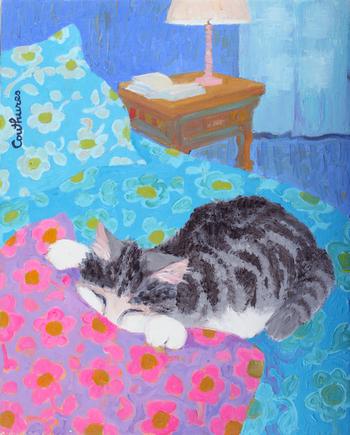 「ソファの猫」・・・とっても気持ちよさそうに、クッションに顔をうずめる猫。そんな猫に向けるクチュールの優しい眼差しを感じるシーンです。