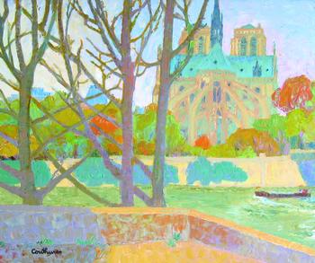 「ノートルダムの岸辺」・・・セーヌ川の対岸からノートルダム寺院を望む景観を優しい色合いで描いたパリの風景。