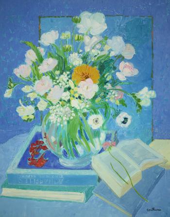 「青を基調のブーケと本」・・・青と白のコントラストが静かな美しさと優しさに満ちて、心の平安を感じます。
