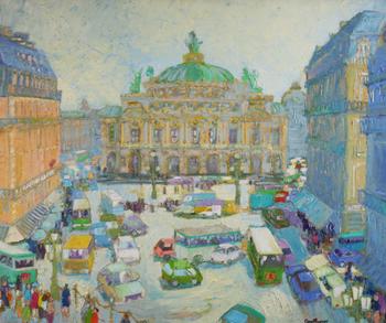 「オペラ通り」・・・オペラ通りには、老舗カフェやブランドショップが建ち並びます。特にメトロ(地下鉄)のオペラ座駅前では、待ち合わせる人たちでいつもいっぱい。そんなパリの風景を、クチュールは親しみを込めて描いています。