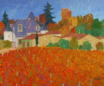 「ブリオンの城」・・・しっとりと落ち着いた色調で描かれた葡萄畑から望むシャトー。