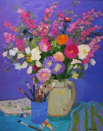 「マーガレットと絵筆」・・・クチュールのアトリエの隅には、いつもこのような幸福の花束が飾られていたのかもしれませんね!クチュールの画家としての自信に溢れた、充実した人生を感じさせるブーケです。