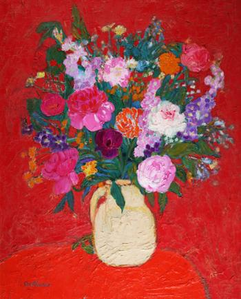 「野ばらとジローフル」・・花を引き立てる真紅の背景が華やかなブーケです。強い生命力とエネルギーを感じますね!見ているだけで元気になれます。