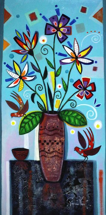 「小鳥とブーケ」・・・ブーケの甘い香りに誘われた小鳥たち。花と私たちとどちらが綺麗?小鳥も美しい花となります。