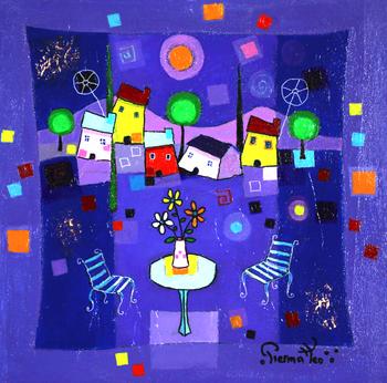 「夜のブーケ」・・・夜になっても、テーブルのブーケは寂しくありません!夜空も、家も、そして2脚の椅子も、みんながブーケを優しく見つめています。