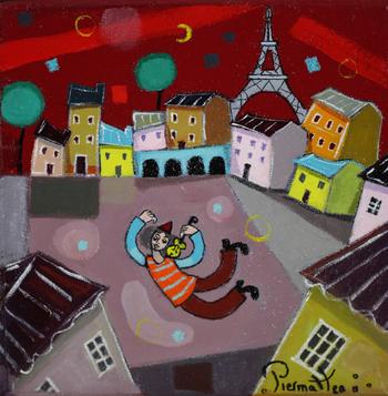 「パリの空」・・・大きな雲の傘がかかっているパリの街。そのため年間の半分はグレーな空が広がっています。でもピエルマテオの手にかかると、憂鬱な空も、こんなに美しくご機嫌な空になるんです!