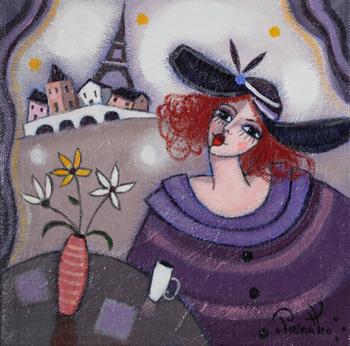 「パリジェンヌ」・・・とってもオシャレで、おしゃべり好きなパリジェンヌたち。カフェや、サロンドテには、そんな魅力的なパリジェンヌたちが花となりパリの街に彩りを与えています。