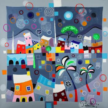 「雪の村」・・・村の中の雪が楽しげに舞う様子。美しいスカーフのデザインを見ているようですね!ピエルマテオは雪に閉ざされる村ではなく、雪のダンスをカラフルに楽しそうに描いています。ピエルマテオの絵は、幸せに満ちた音楽と色彩のモザイクです。