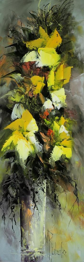 「黄色い花びら」・・・シェイプされた黄色い花と花器。その右下にはデザイン的なリュバロのサインによってバランスが保たれています。難しい構図ながら、素晴らしいプロポーションですね!