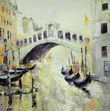 「リアルト橋」・・・ベニスを象徴する橋、白く堂々と存在感のあるリアルト橋を描きながら、どんな物語を描き込んだのでしょう。