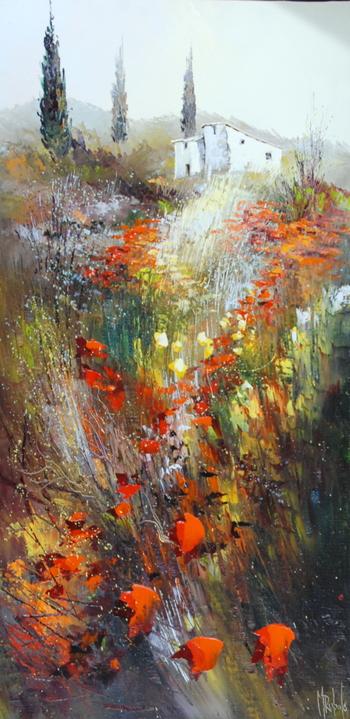 「プロヴァンスの山麓」・・・野に咲く赤と黄色の花と糸杉、そして白い壁の家。そこに続く小径に咲く野の花。リュバロが好んで描く作品スタイルです。
