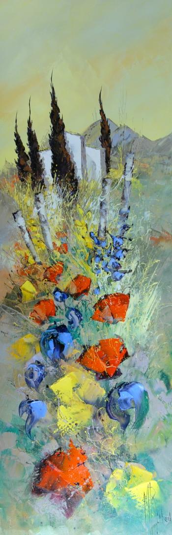 「花咲くプロバンス」・・・リュバロの魅力の一つである、インパクトのある大胆な構図の取り方と勢いある色彩とのタッチ。