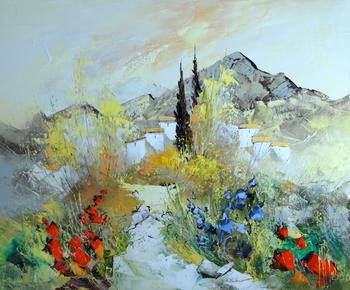 「山麓の小道」・・・一見、無彩色に見える風景の中に赤と青の色彩がひときわ美しさを添えていますね!