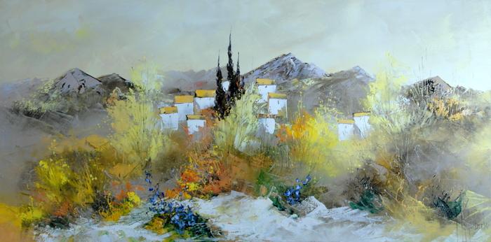 マニュエル・リュバロが描く「プロバンスの村」。白い壁に小さな窓と黄色の屋根。不思議な集落を取り囲む丘と糸杉と草花。絵の中に動と静を見事に調和させるリュバロの美しい幻想の世界をご紹介しましょう!