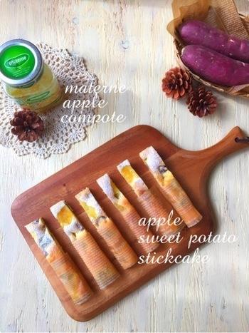 リンゴのコンポートと、ほくほくサツマイモの美味しいコラボレーション!ホットケーキミックスを使うから、初心者さんでも失敗知らずで作れます。