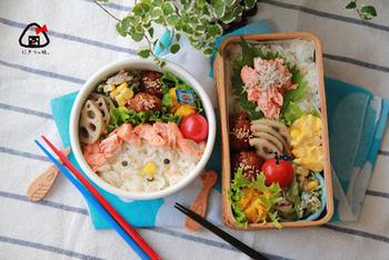 鮭のほぐし身とミートボールの親子弁当。具材は同じでも、詰め方や形を変えるだけで大人用と子供用の2パターンが出来ちゃいます?