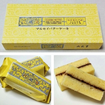 ふわふわの黄色いスポンジが、いかにも美味しそう。甘すぎずしつこすぎないバターの風味のスポンジは、大人も満足できる仕上がりとなっています。  黄色いパッケージデザインはマルセイバターサンドと色違い。マルセイバターケーキが購入できるのは、帯広、札幌、旭川、函館など北海道の六花亭のお店、またはオンラインショップから。
