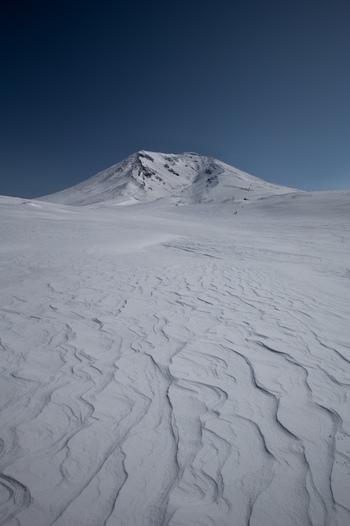 大雪山系の旭岳では、強い北西の風で「シュカブラ」といわれる風紋が雪の上に描かれます。まさに大自然のアートですね。ときには、強風によってたった1日で数mの雪の壁が突然出現することもあります。おすすめは、夫婦池周辺のシュカブラ。