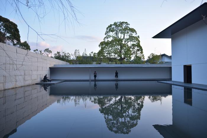 鈴木大拙館の見所の一つである「水鏡の庭(Water Mirror Garden)」。 静寂に包まれた、建物の影が映りこむ水面をずっと眺めていたい気持ちになります。