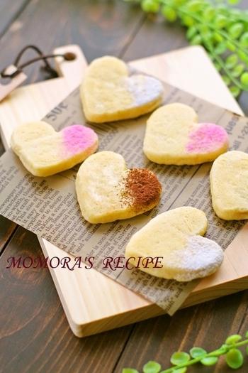 ホットケーキミックスを使っているので時短で簡単?可愛いハートがバレンタインにぴったりですね。
