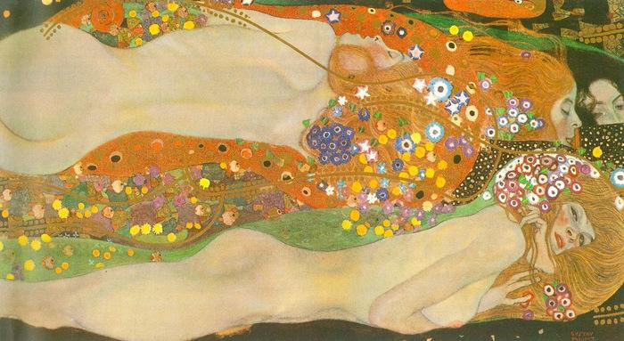 こちらは1904~1907年に制作された「水蛇Ⅱ」という作品です。柔らかな曲線で描かれた女性たちと、カラフルな花の模様が印象的。先ほどご紹介した2作品よりもゴージャス感は控えめでフェミニンな雰囲気ですね。