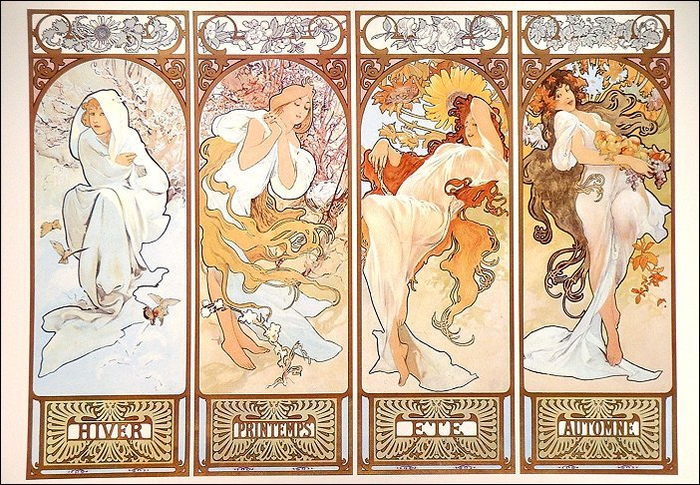 ミュシャの作品は、版画の一種である「リトグラフ」という技法を用いて描かれています。柔らかな曲線で描かれた女性たちと、繊細で美しい装飾が印象的です。ポスターとして制作されたものが多いので、ほかの有名絵画よりも気軽に取り入れられそうですよね。