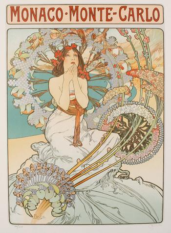 空を見上げる女性の周りに、シクラメンやライラックなどのさまざまな花を散りばめた「モナコ・モンテカルロ」という作品。こちらは、鉄道会社のポスターとして制作されたものなのだそうです。