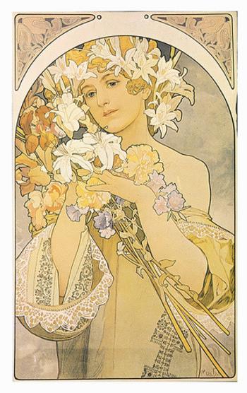 1897年制作の「花」という作品。全体が淡い色合いでまとめられており、上品でやさしい雰囲気に仕上がっています。うっとりと見とれてしまうほど美しい作品です。